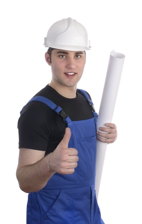 Young construction worker with plan holding thumb up Stock Photo - 20046098