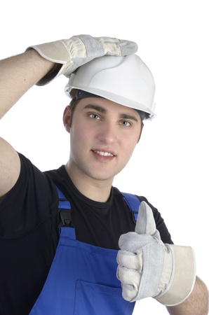 Young happy construction worker holding thumb up, Studio Shot Stock Photo - 20045701