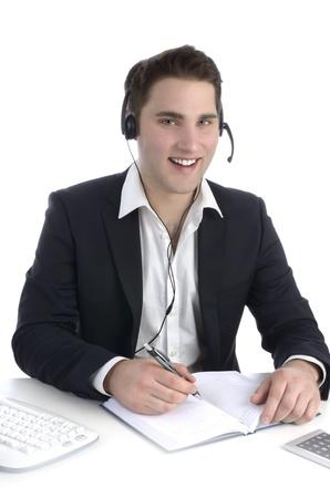 head set: Business man in office talking to head-set
