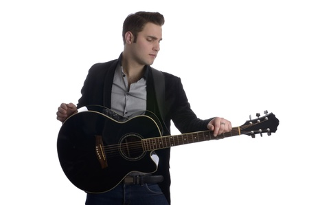 leasure: Smart guy with guitar Stock Photo