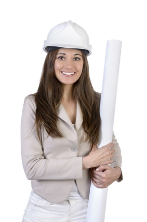Pretty female architect with hard hat and plan, Studio Shot Stock Photo - 20078041