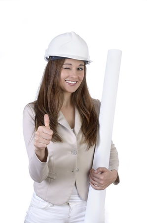 Pretty female architect with hard hat and plan, Studio Shot Stock Photo - 20078036