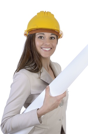 female construction worker: Pretty female architect with hard hat and plan, Studio Shot Stock Photo