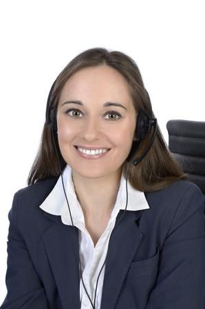Pretty business woman with headset, Studio Shot photo