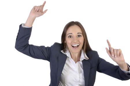 jubilate: Pretty woman is happy and cheering with arms outstreched, Studio Shot Stock Photo