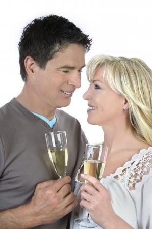 life partner: Mature couple celebrating with champagne Stock Photo