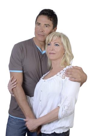 midlife: Happy mature couple isolated on white background