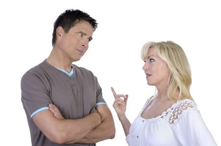 argumentative: Mature couple having conflict, isolated on white, Studio Shot