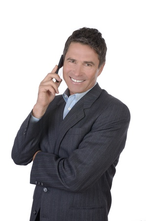Business Manager Portrait calling with smart phone, Studio Shot Stock Photo - 20331719