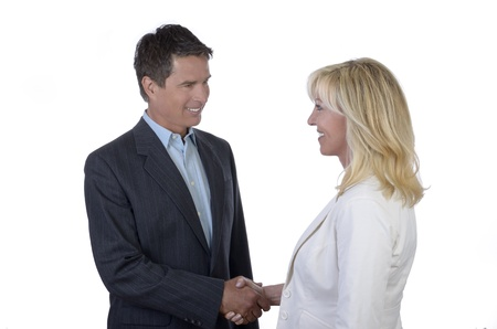 Business man and woman shaking hands, Studio Shot Stock Photo - 20323367