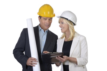 Male and female architect  meeting, Studio Shot Stock Photo - 20334960