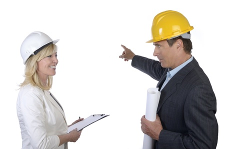 Male and female architect having a talk  Stock Photo - 20362635
