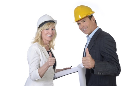 Male and female architect smiling thumb up  photo