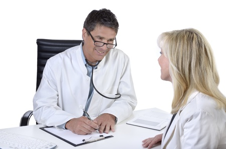 Doctor and patient talking in meeting photo