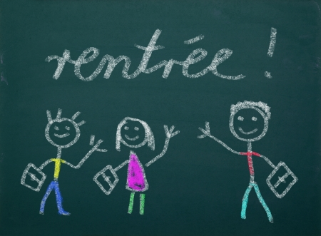 School kid s drawings on green blackboard, french writing   rentree  photo