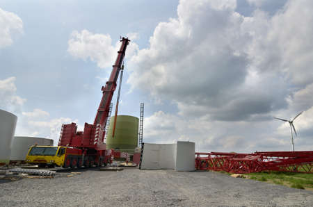 Wind turbine at beginning of construction, foundation and first segments, Germany, July 2013 Stock Photo - 20908550