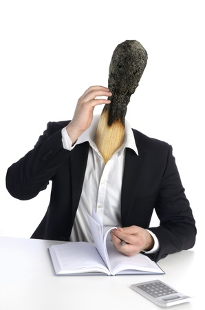 Burned out Business Man with Match Head, Studio Shot, Montage