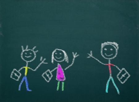 english: School kid s drawings on green blackboard,free copy space