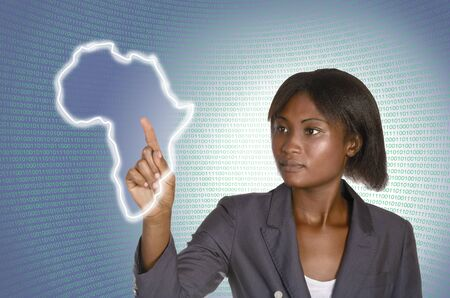 African business woman digital IT background,  studio shot photo