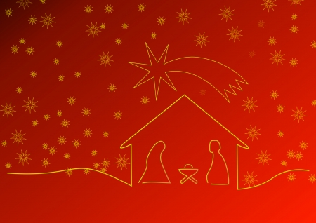 Red Christmas with crib and stars, Montage
