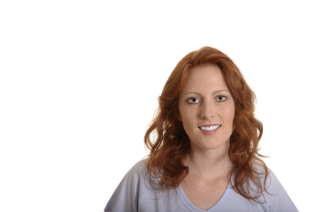 red haired woman: Attractive red haired woman smiling, Portrait, Studio Shot