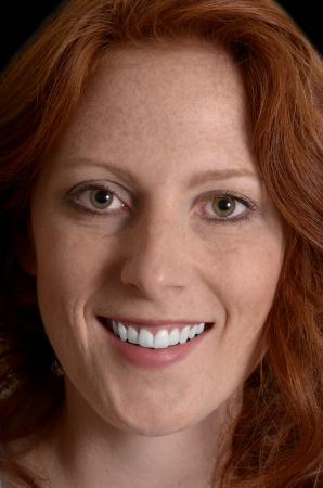 Pretty red-haired woman portrait, Closeup, Studio Shot photo
