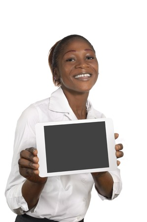 African Business Woman with Tablet PC, Free Copy Space, Studio Shot photo