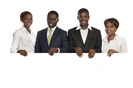Four african business people holding white sign, free copy space, Studio Shot