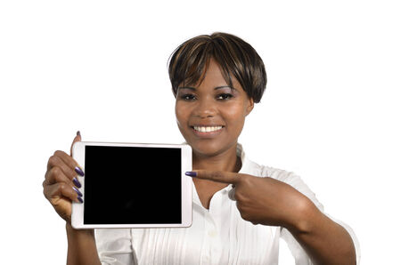 African Business Woman with Tablet PC, Free Copy Space, Studio Shot