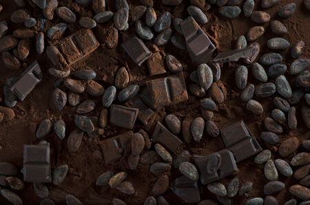 trading board: Chocolate with Cocoa Powder ans Beans, Still, Studio Shot