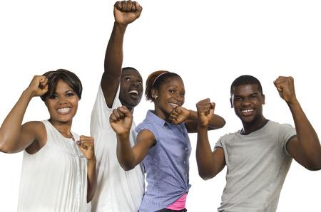 jubilation: Four african Friends in joy, Studio Shot