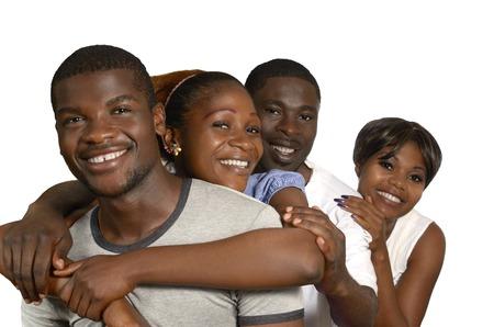 african solidarity: Four african Friends in joy, Studio Shot