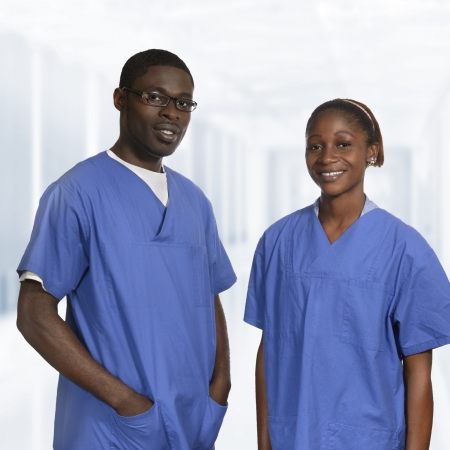 nursing unit: African doctors in blue dress Portrait, Studio Shot