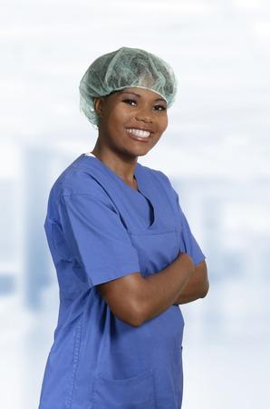 nursing unit: African doctor in blue dress Portrait, Studio Shot