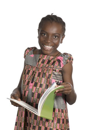 African Girl with text book, Studio Shot photo
