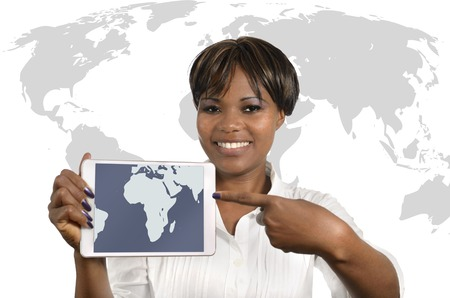 African Business Woman with Tablet, Studio Shot photo
