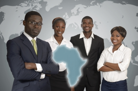 African Business People World Map, Studio Shot