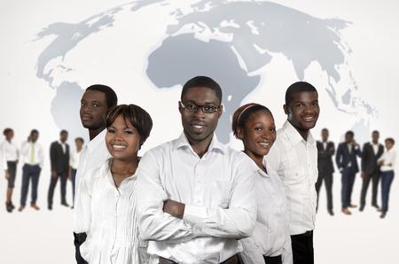 アフリカのビジネス人々 世界地図、スタジオ撮影