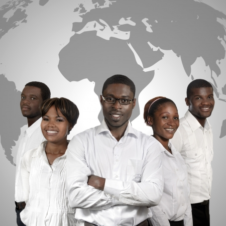 info business: African Business People World Map, Studio Shot