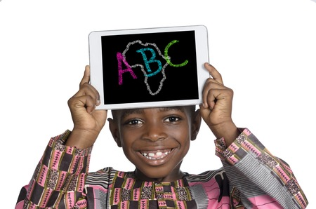 kids abc: African Boy holding Minitablet PC, ABC Illustration, Studio Shot
