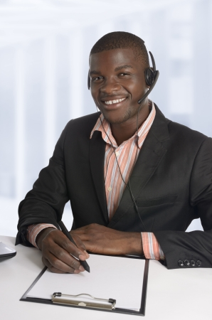 African business man   Student with Head Set, Studio Shot photo
