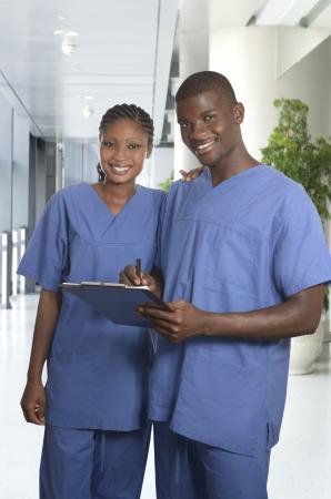 nursing unit: African medical team in clinic, Studio Shot Stock Photo