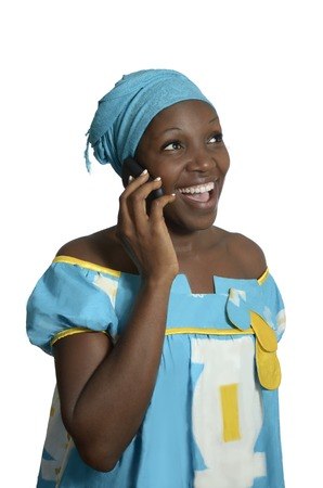 black empowerment: African woman talking with cellphone, Studio Shot