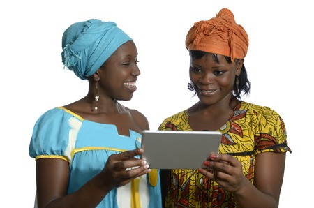 modernity: African women with tablet PC, Studio Shot Stock Photo