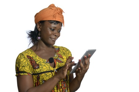 black empowerment: African woman with tablet PC, Studio Shot