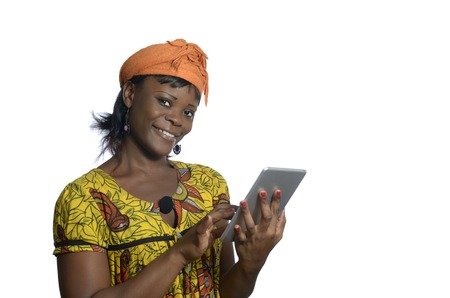 African woman with tablet PC, Studio Shot Stock Photo - 25035242