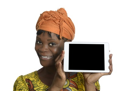 African woman with tablet PC, Studio Shot photo