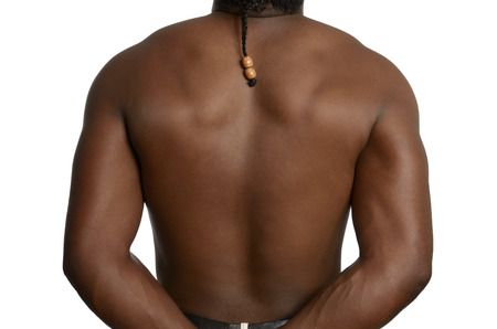 Back of a muscular african man, Studio Shot photo