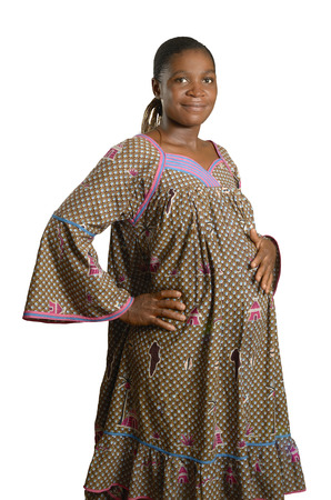 Pregnant african woman in traditional clothes, Studio Shot