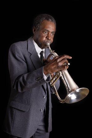flugelhorn: Black Jazz Flugelhorn Player, Studio Shot